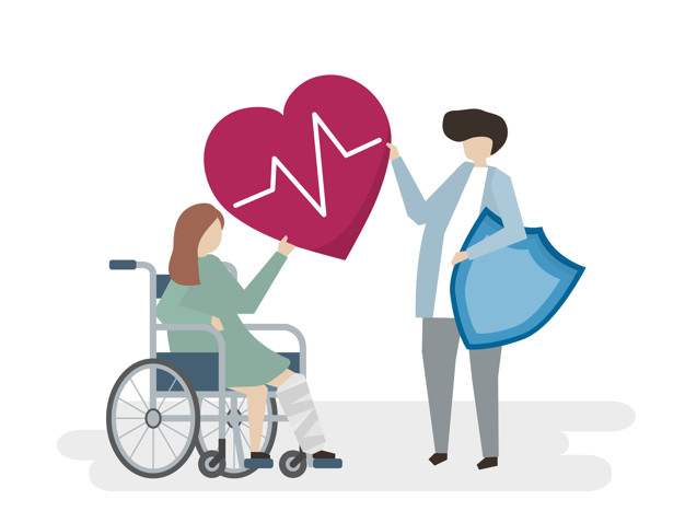 Illustration of people with medical care service